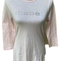 Bebe Size L Pale Pink Long Sleeve Top With Rhinestones Euc Photo