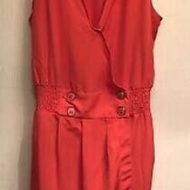 Bebe Size Xs Burnt Orange Sleeveless Buttoned v-Neck Pocketed Wrap Skirt Romper Photo