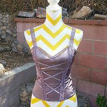 Bebe Size Xs  Purple Corset Bustier Camisole Shirt  Ribbon & Lace  Shape Wire Photo