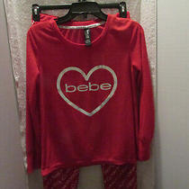 Bebe Sleepwear Red White Silver Foil Heart Waffle Knit  2pc. Pajama Set Sz. M/m Photo