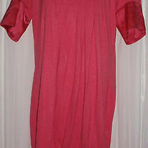 Bebe Small Pink Coral Print Top Shirt Tunic S Shot Sleeve Scoop Neck Solid Dress Photo