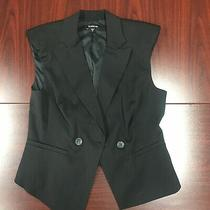 Bebe Solid Black Cropped Button Vest Woman's Medium Two Buttons Shoulder Pads Photo