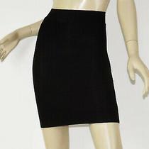 Bebe Solid Black Stretch Power Knit Bandage Seamed Mini Bodycon Pencil Skirt Xs Photo