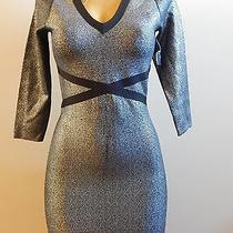 Bebe Sparkle Liquid v Neck Dress (New) Photo