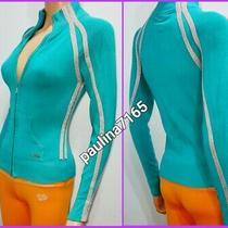 Bebe Sport Aqua Blue/metallic Stripe Full Zip Sweater S (Also Fit Xs) K75 Photo