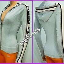 Bebe Sport Pale Blue/black/white/metallic Full Zip Hoodie Sweater Small   K73 Photo