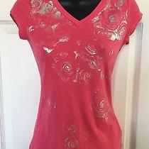 Bebe Sport Pink v Neck Top With Roses  Photo
