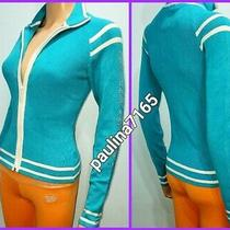 Bebe Sport South Sea Blue/white Full Zip Sweater Large (Runs Smallfit m) K76 Photo