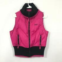 Bebe Sport Women Bright Pink Down/feather Nylon Puffer Zip Up Vest Size L Photo