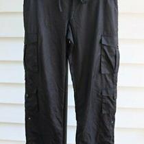 Bebe Sport Women's Size S Black Roll Leg Pants Nylon Utility Cargo Parachute Photo