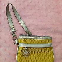 Bebe Sport Yellow Mesh & Silver Wrist Bag Wristlet Clutch -Guc- Photo
