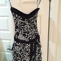 Bebe Strapless Black & White Formal Dress Photo