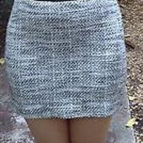 Bebe Sz 0 Tweed Corset Black Grey White Dress Mini Strapless Leather Waist Sexy Photo