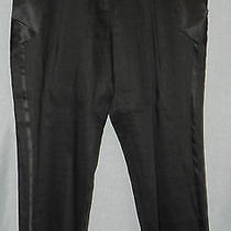 Bebe Sz 4 Black Crop Tuxedo Pants Silk Satin Trim Q800 Photo