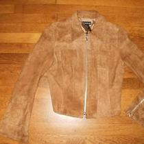 Bebe Sz S Tan Suede Short Zippered Jacket With Zippered Fluted Cuffs Photo