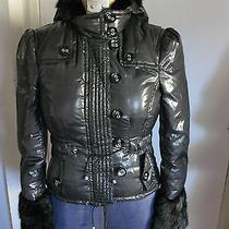 Bebe sz.sm.black Puffer  Down Lined Jacket Rabbit Fur Trim Photo