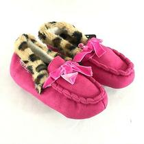 Bebe Toddler Girls Moccasin Slippers Faux Suede Faux Fur Leopard Pink 11/12 Photo