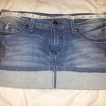 Bebe Upstart Denim Jean Skirt 28 Distressed Destroyed Painted Style Photo