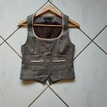 Bebe Vest Contrast Career Twill Brown Pink Accent Ruffles Euc Size Xs Womens Photo