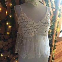 Bebe White Lace See Through Baby Doll Top Medium Nwot Photo