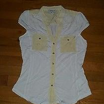 Bebe White / Off White Sexy Work Top Gold Button Down Photo