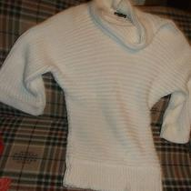 Bebe Winter White Acrylic Cowl-Neck Pullover Sweater Woman's S Photo