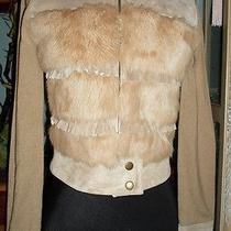 Bebe Women Leather & Rabbit Fur Trim Jacket Size Xsmall  Photo