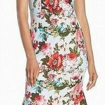 Bebe Women's Dress Blue Size 8 Sheath Off-the-Shoulder Floral Ruffle 139 300 Photo