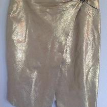 Bebe Women's Genuine Gold Leather Asymmetrical Front Slit Skirt W/lining &brooch Photo