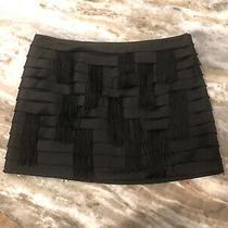 Bebe Womens Mini Skirt Black Tassels Size 2 Zipper Photo