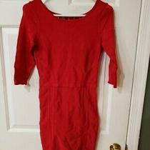 Bebe Women's Red Short Sleeve Sheath Dress With Cut Out Back Size L Rayon Blend Photo