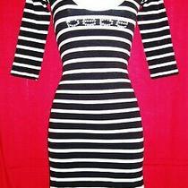 Bebe Women's Swarovski Crystal Rhinestone Logo Open Shoulder Dress S Nwot   Photo