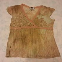 Bebe Women Tan / Orange See Through Top / Blouse Juniors Size L Made in Usa Photo
