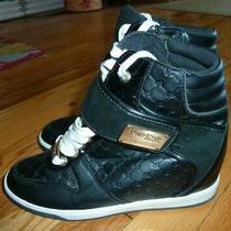 Bebe  Womens Bebe Charlane Wedge Sneakers Black 8 Us Photo