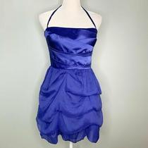 Bebe Womens Dress M Sapphire Blue Cary Side Zipper Tulle Layers Silk Medium New Photo