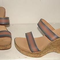Bebe Womens Orange Cork Heels Wedges Slides 8 Us Photo