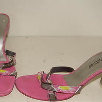Bebe Womens Pink Silver Strappy Sandals Shoes 7 B Photo