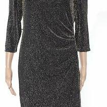 Bebe Womens Sheath Dress Gold Size 12 Shimmer Draped Back Stretch 149 654 Photo