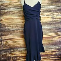 Bebe Womens Sz 12 Pleated Asymmetric Flounce Midi Dress Spaghetti Strap Navy Photo