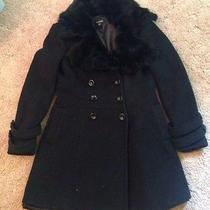 Bebe Wool Blend Coat With Genuine Rabbit Fur Trim Sz M Photo