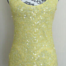 Bebe Yellow Sequin Front Racerback Fitted Long Length Tank Top Size S Photo
