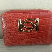 Bebe Zip Around Womens Logo Wallet Clutch Red Patent Leather Embossed Compact Photo
