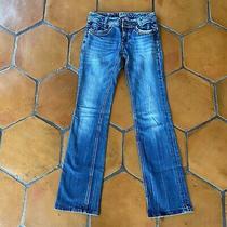 Bebock for Express Bootcut Denim Jeans Bling Metallic Stitching Size 2 Photo