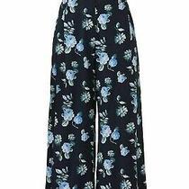 Becken Women's Pants Blue Size 2x22 Cropped Silk Wide Leg Bloom Print 495- 093 Photo