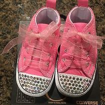 Bedazzled Infant Pink Converse Size 4 Photo