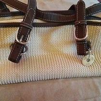 Beige and Brown Crocheted Handbag Photo
