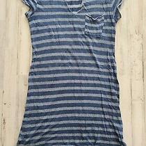 Bella Dahl Dress Extra Small v Neck Striped Raw Hem Blue Summer Anthropologie  Photo