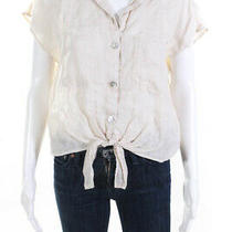 Bella Dahl Womens Linen Tie Front Short Sleeve Blouse Top Beige Size S Photo