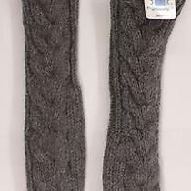 Bella's Cable Knit Long Elbow Lambs Wool Mittens From New Moon Gray One Size New Photo