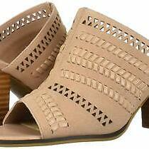 Bella Vita Women's Koraline Slide Sandal on Block Blush Suede Leather Size Photo